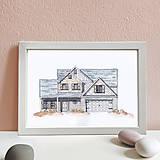 Obrazy - Portrét na želanie- akvarelový portrét rodinného domu - A4 - 11100068_