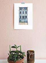 Obrazy - Portrét na želanie- akvarelový portrét rodinného domu - A4 - 11100071_