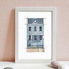 Obrazy - Portrét na želanie- akvarelový portrét rodinného domu - A4 - 11100067_