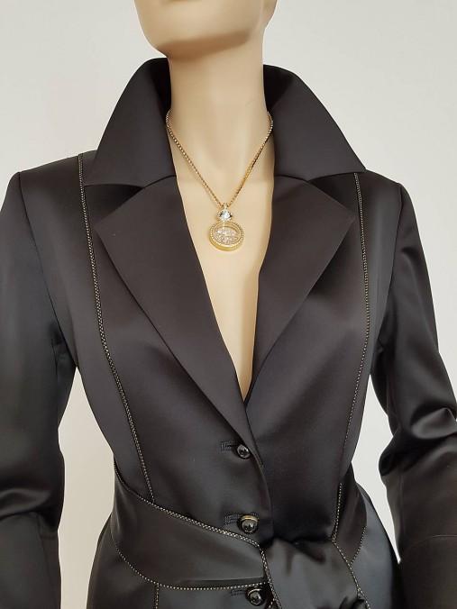 Saténové sako so zlatou paspulou