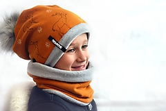 Detské súpravy - Zimný set Obojstranný s Odopínacím brmbolcom jelene horčicová - 11101449_