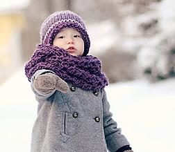 Detské doplnky - Sněhová královna - nákrčník Vřesový - 11101508_
