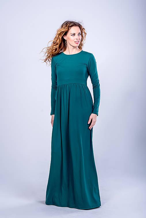 Šaty - Dlhé šaty so zlatým gombíčkom - 11101310_
