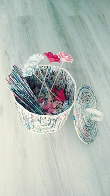Košíky - Úložný aj dekoračný box na hračky, toaleťák... - zrecyklované letáky - 11098421_