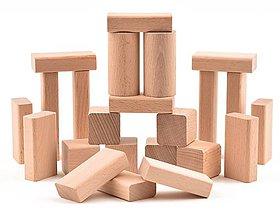 Hračky - Drevená stavebnica - 23 ks komponentov (+ vrecúško) - 11099702_