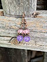 Náušnice - Ruženín a fialový jadeit - náušnice - 11100443_