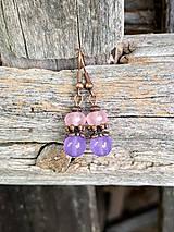 Náušnice - Ruženín a fialový jadeit - náušnice - 11100446_