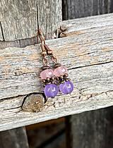 Náušnice - Ruženín a fialový jadeit - náušnice - 11100447_