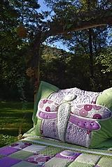 Úžitkový textil - Vážka - sada prehoz a vankúš - fialová - 11099092_