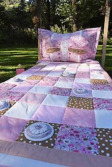 Úžitkový textil - Vážka - sada prehoz a vankúš - rúžová - 11099059_