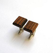 Šperky - Drevené manžetové gombíky - ovangkol štvoruholníky - 11100992_
