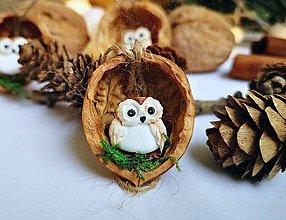 Dekorácie - Vianočné oriešky so sovičkami - 11100178_