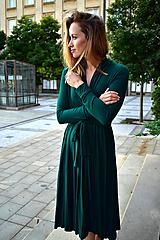 Šaty - APRIL smaragdově zelené, zavinovací šaty/cardigan (S/M) - 11104880_
