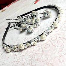 Ozdoby do vlasov - Wedding SET - Beaded Headband and Hairpins / Svadobná korálková čelenka a vlásenky - 11102118_
