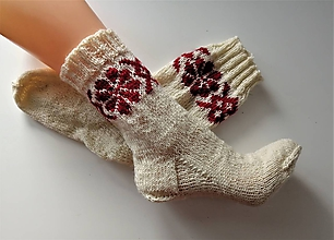Obuv - Ponožky folklórne s tradičným motívom Novohradu - 11104578_