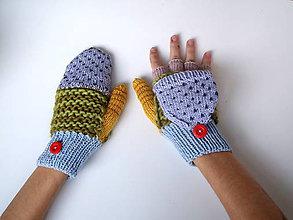 Rukavice - Odklápacie rukavice vlnené s bledofialovou  klapkou - 11103234_