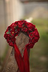 Ozdoby do vlasov - Ľudová kvetinová parta v červenom - 11104572_