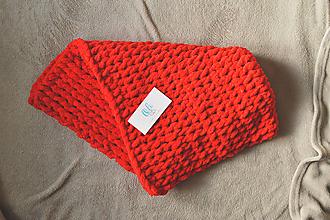 Textil - Puffy deka červená - 11104315_