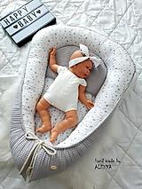 Textil - Hniezdo pre bábätko z vafle bavny v sivej farbe - 11104087_