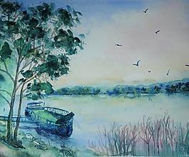 Obrazy - Dunaj pri Devíne, akvarel - 11104604_