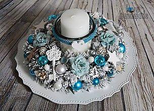 Dekorácie - Elegantný svietnik na jednu sviečku tyrkysový 30cm - 11104427_