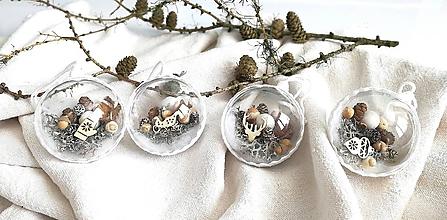 Dekorácie - Vianočné gule 4 ks biela - 11104783_