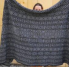 Úžitkový textil - Deka Strážov Čičmany (Modrá) - 11101671_