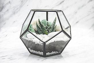 Nádoby - Vitrážové rastlinné terárium so sukulentom - 11102388_