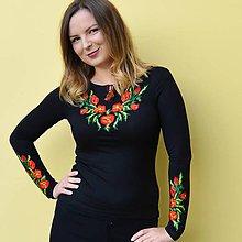 Tričká - Folklórne dámske tričko tmavomodré , vyšívané , s výšivkou , folk, ľudové, dlhý rukáv, čierne, XS/S - 11104100_