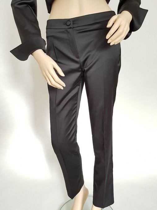 Saténové nohavice so zlatou paspulou
