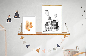 Detské doplnky - Art Print - čiernobiele domčeky - 11103945_