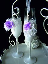 Nádoby - Svadobné poháre s čipkou a kvetmi (fialové) - 11102373_