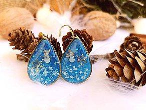 Náušnice - Vianočné náušnice visiace modré so snehuliakmi - 11104625_
