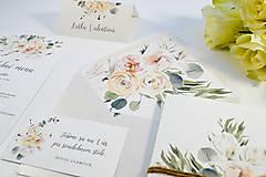Papiernictvo - Svadobné oznámenie Greenery so špagátikom - 11108143_