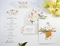 Papiernictvo - Svadobné oznámenie Greenery so špagátikom - 11108147_