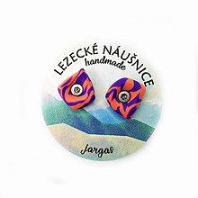 Náušnice - Lezecké náušnice - Lososovo-fialové chyty - 11108567_