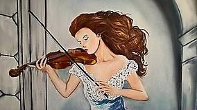 Obrazy - Žena s husľami - 11105667_