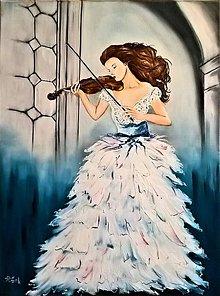 Obrazy - Žena s husľami - 11105666_