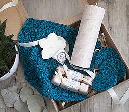 Svietidlá a sviečky - Teal - darčeková krabica - 11107962_