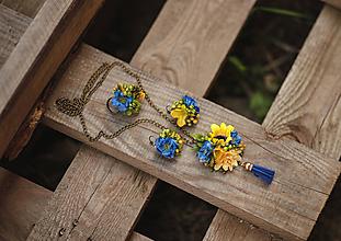Náhrdelníky - Kvetinová retiazka žlto-modrá - 11109201_
