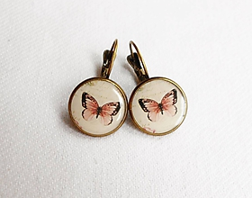 Náušnice - Živicové náušnice - Staroružový motýľ (starobronz) - 11108291_