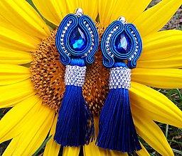 Náušnice - Soutache náušnice Audrey - kráľovsky modrá - 11108361_