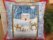 Úžitkový textil - Vankúšik Zvieratká Vianoce v lese - 11105208_