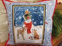Úžitkový textil - Vankúšik Snehuliak Vianoce v lese - 11105213_