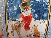 Úžitkový textil - Vankúšik Snehuliak Vianoce v lese - 11105214_