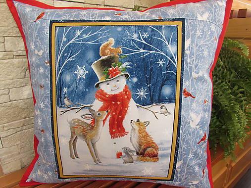 Vankúšik Snehuliak Vianoce v lese
