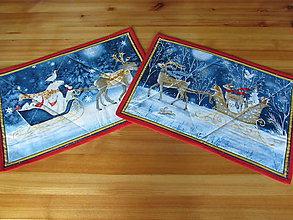 Úžitkový textil - Veľký a malý sob prestieranie Vianoce v lese A - 11105236_