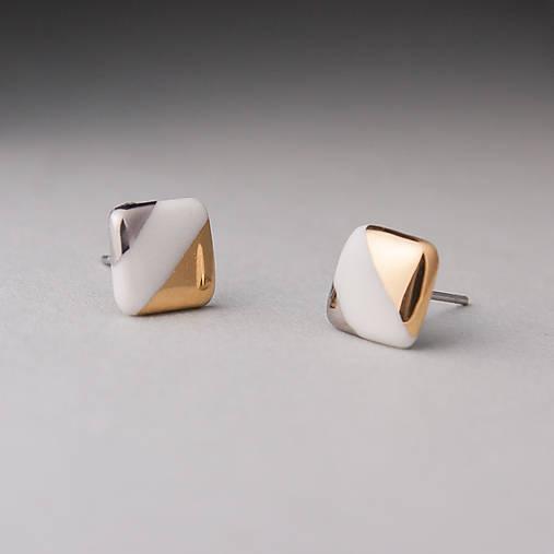 porcelánové náušnice | zlato, platina, chirurgická oceľ