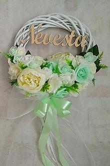 """Dekorácie - Svadobný venček na dvere mentolovo-smotanový """"Nevesta"""" - 11109543_"""