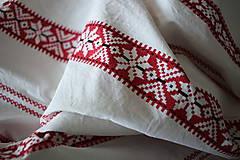Textil - Komplet hačka - červený ornament v pásoch - 11109542_